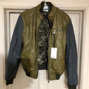 Mangotti Zip-Up Leather & Wool Outerwear Jacket